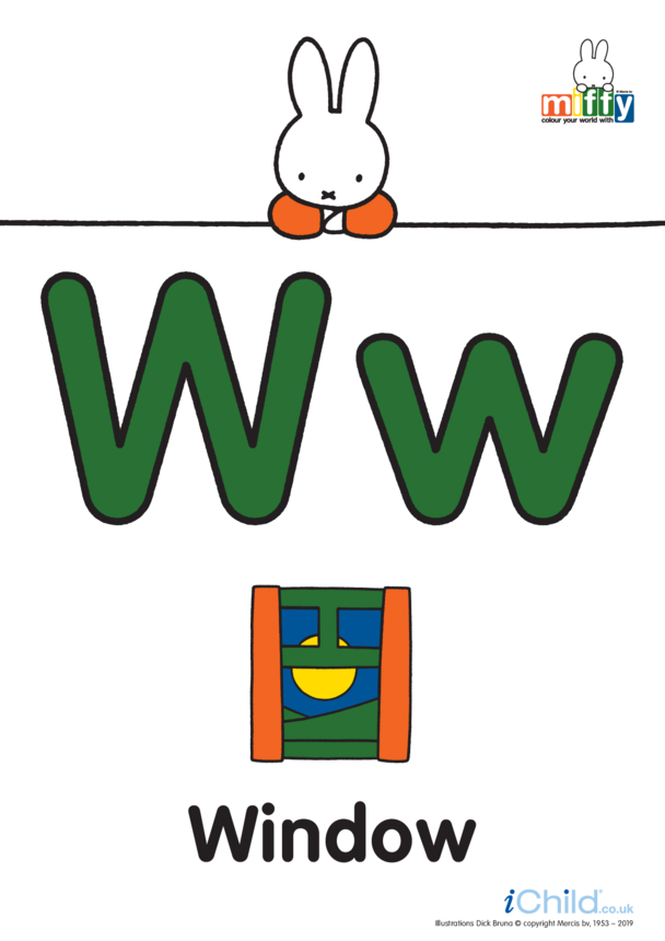 W: Miffy's Letter Ww (less ink)