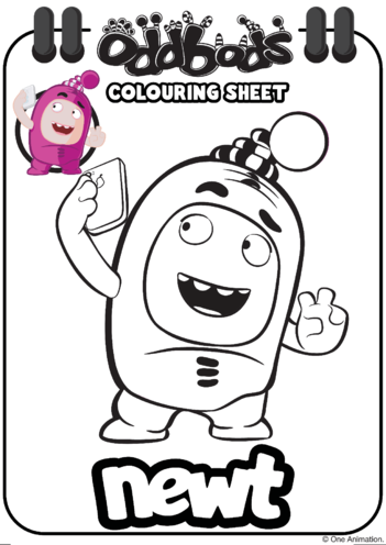 Thumbnail image for the Colouring In Newt Oddbods activity.