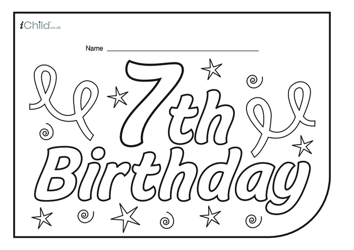 Thumbnail image for the Birthday Party Place Mats for 7 year old 7th birthday activity.