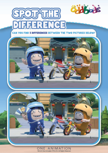 Thumbnail image for the Spot the Difference 5 Oddbods activity.