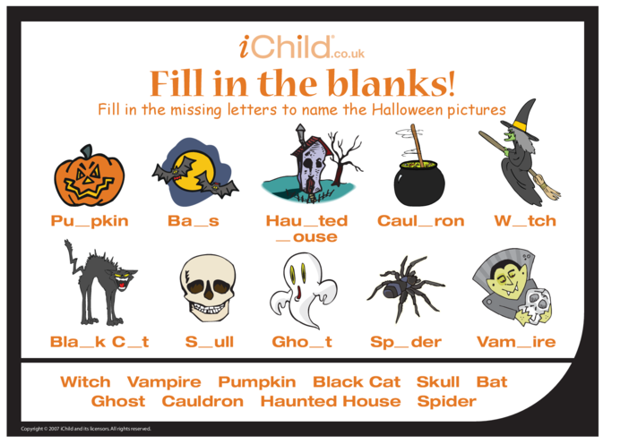 Thumbnail image for the Fill in the Blanks - Halloween activity.
