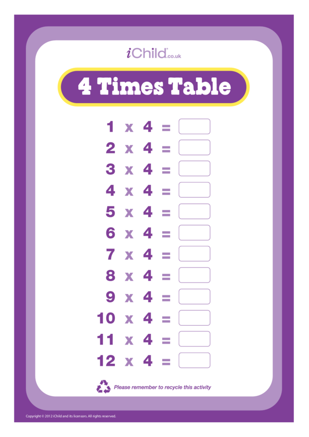 (04) Four Times Table Question Sheet