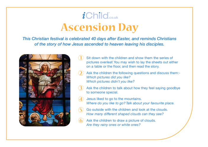 Thumbnail image for the Ascension Day Religious Festival Story activity.
