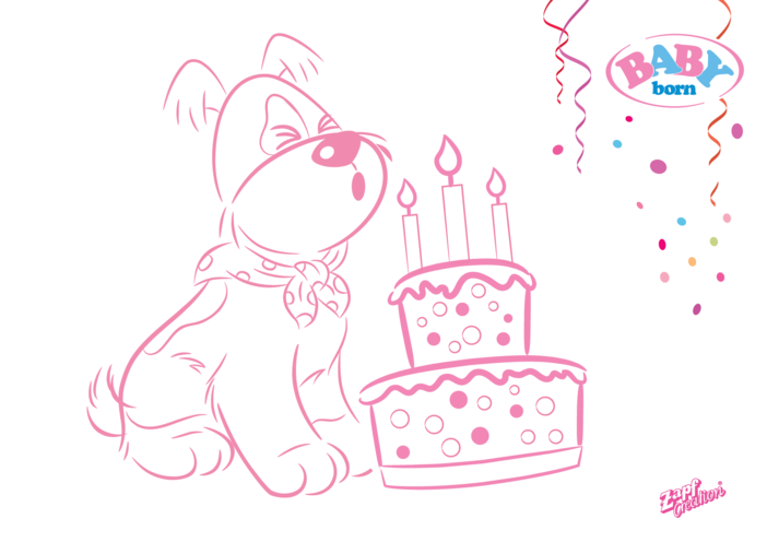 Thumbnail image for the 2021 BABY born Dog Colouring in Picture activity.