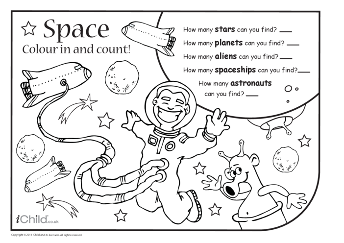 Thumbnail image for the Colour in & Count - Space activity.