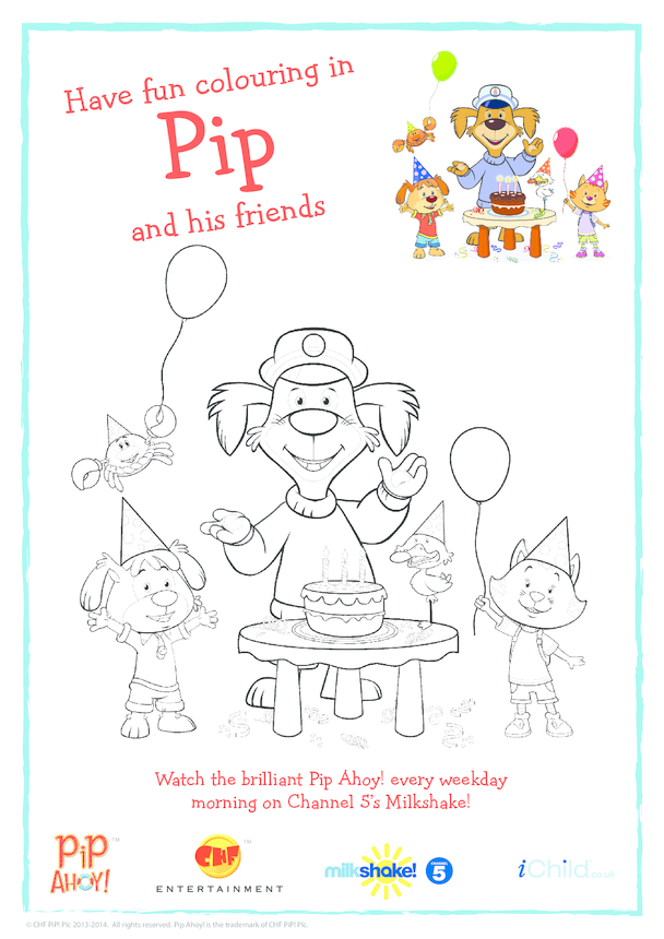 Pip and Friends Birthday Colouring In Picture (Pip Ahoy!)