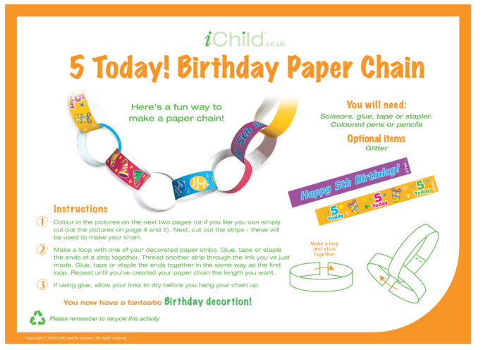 Thumbnail image for the Birthday Party Decoration Paper chain for 5 year old 5th birthday activity.