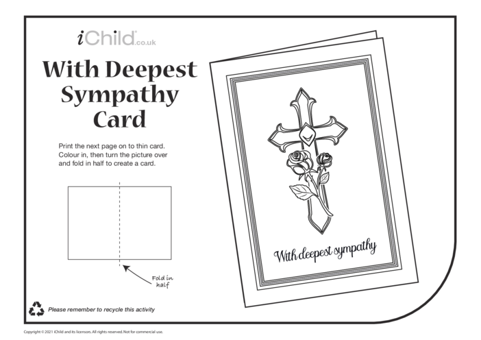 Thumbnail image for the Deepest Sympathy Card (black & white) activity.