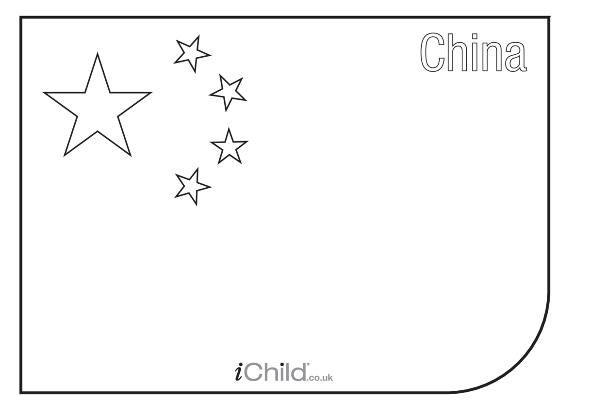 China Flag Colouring in picture
