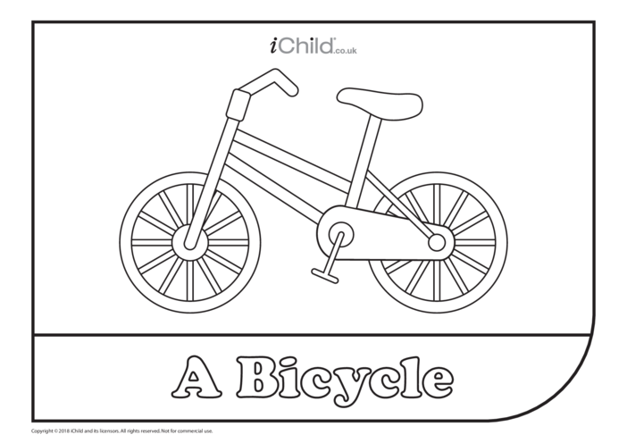 Thumbnail image for the Bicycle (& Rider) Colouring in Picture activity.