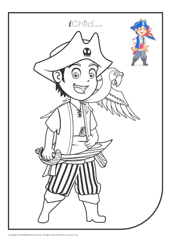 Thumbnail image for the Young Pirate & Parrot Colouring in Picture (with example) activity.