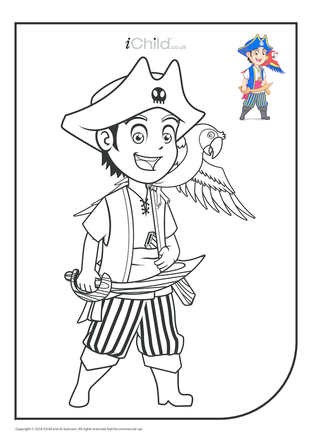 Young Pirate & Parrot Colouring in Picture (with example)