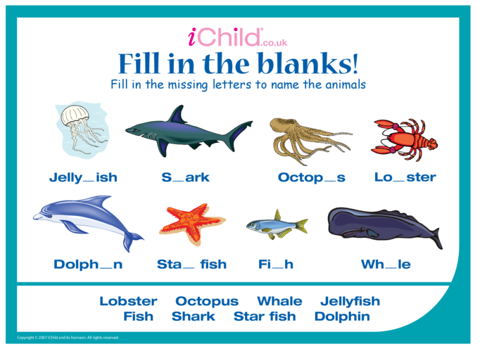 Thumbnail image for the Fill in the Blanks - Ocean Animals activity.