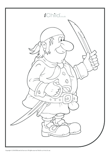 Thumbnail image for the Pirate Colouring in Picture activity.