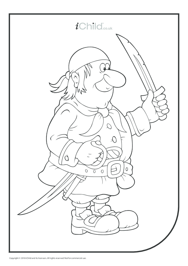 Pirate Colouring in Picture