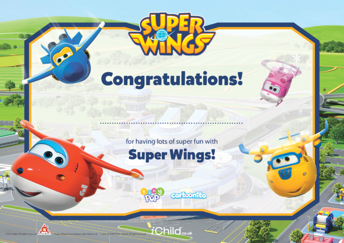 Thumbnail image for the Super Wings Certificate (Full Colour Border) activity.