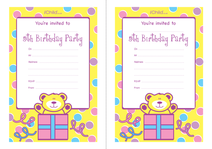 Thumbnail image for the Birthday Party Invitation templates for 5 year old 5th birthday activity.