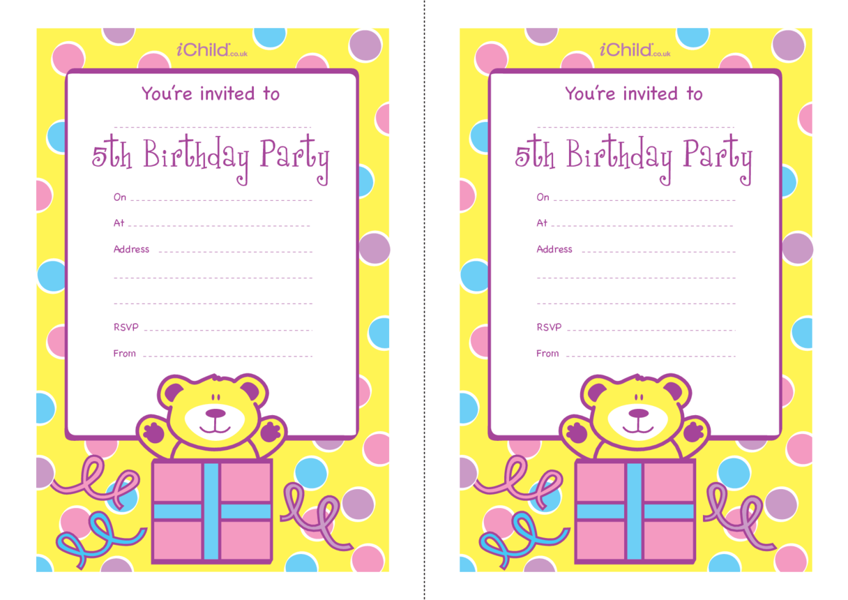 Birthday Party Invitation templates for 5 year old 5th birthday