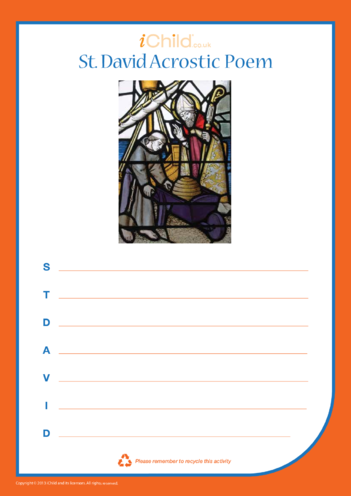 Thumbnail image for the St. David's Day Acrostic Poem activity.