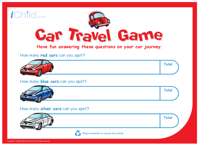 Thumbnail image for the Car Travel Game activity.