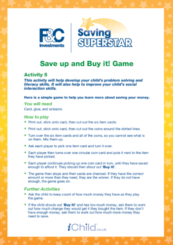 Thumbnail image for the Age 5-7 years (5) Save up and buy it game activity.