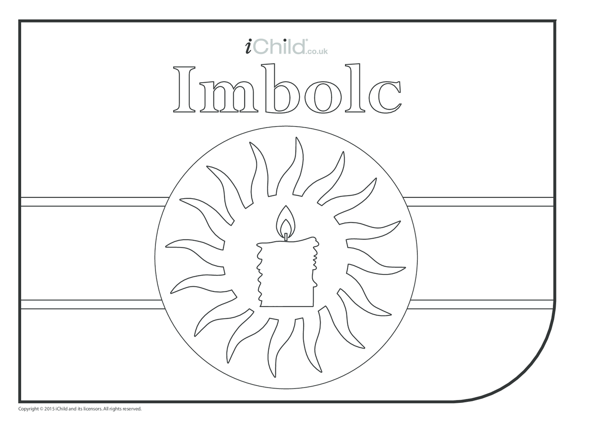 Imbolc Colouring in Picture (with candle)