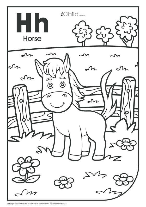 H is for Horse Colouring in Picture