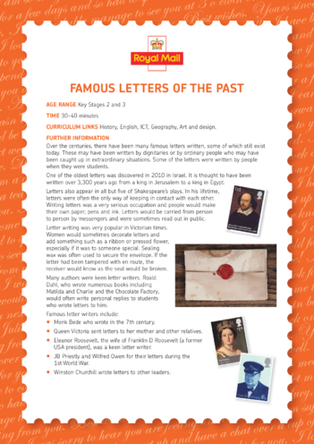 Thumbnail image for the Lesson Plan 2: Famous Letters of the Past activity.
