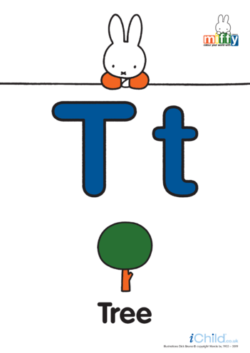 Thumbnail image for the T: Miffy's Letter Tt (less ink) activity.