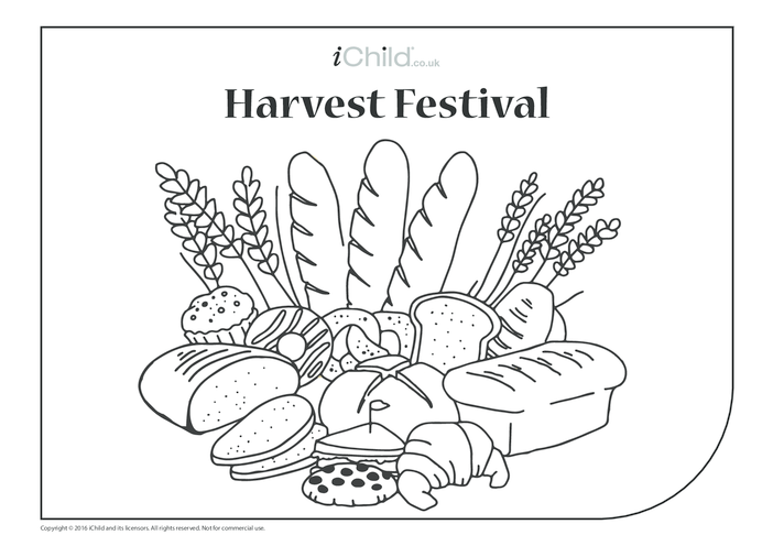 Thumbnail image for the Harvest Festival Colouring in Picture (Bread Basket) activity.