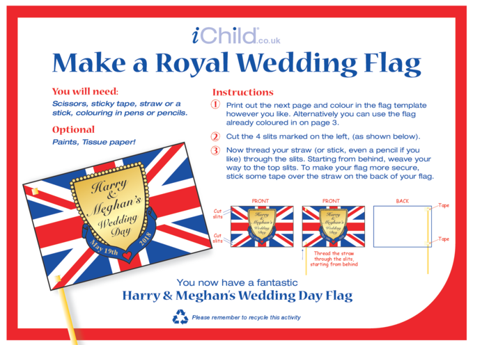 Thumbnail image for the Royal Wedding, Make a Flag Craft: Harry & Meghan activity.