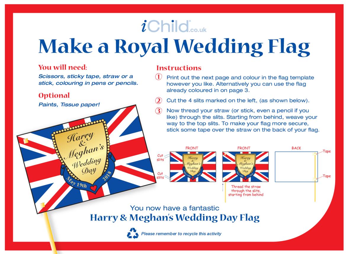 Royal Wedding, Make a Flag Craft: Harry & Meghan