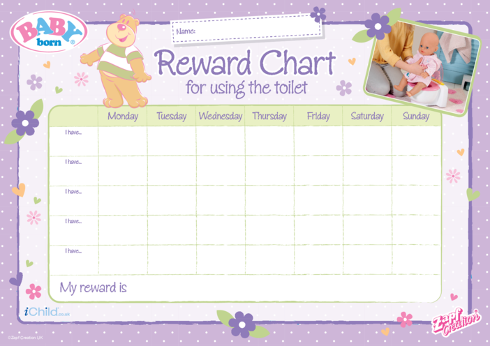 Thumbnail image for the BABY born 2020 - Toilet Training Reward Chart activity.