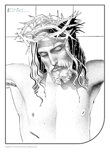 Thumbnail image for the Crucifixion (close up) Colouring in Picture activity.
