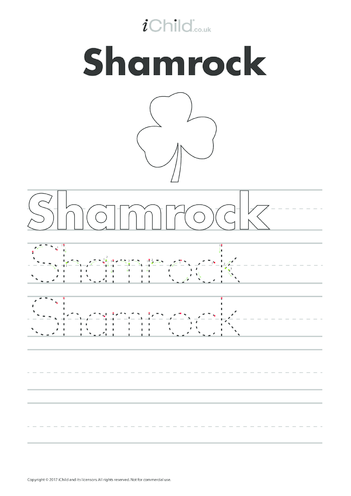 Thumbnail image for the Shamrock Handwriting Practice Sheet activity.