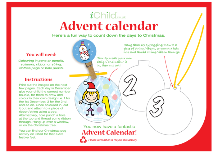 Thumbnail image for the Advent Calendar Craft (Blank Baubles) activity.