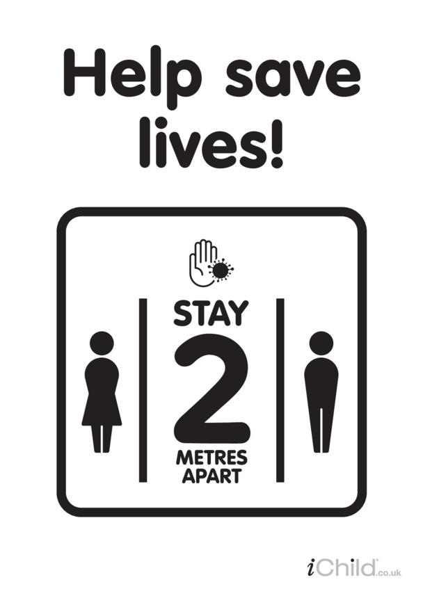 Help save lives: social distancing - Poster (black & white)