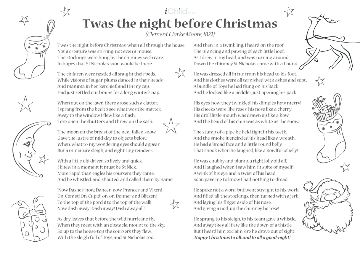 Poem - 'Twas The Night Before Christmas
