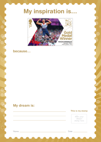 Thumbnail image for the My Inspiration Is- Richard Whitehead- Gold Medal Winner Stamp Template activity.