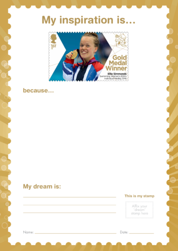 Thumbnail image for the My Inspiration Is- Ellie Simmonds- Gold Medal Winner Stamp Template activity.
