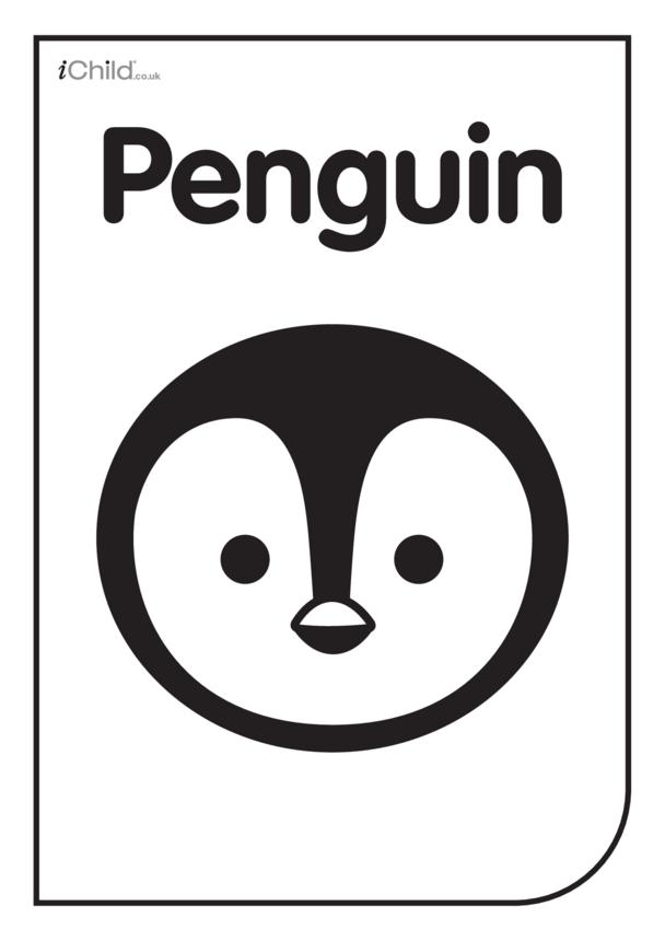 Black & White Poster: Penguin Face