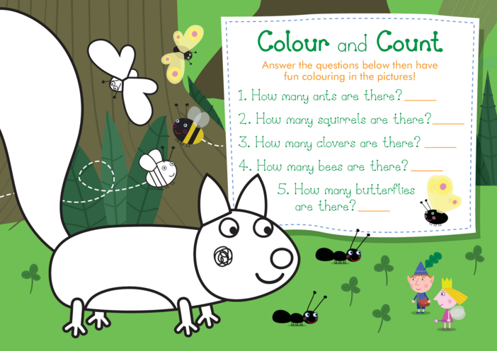 Thumbnail image for the Colour and Count: Ben & Holly's Little Kingdom activity.