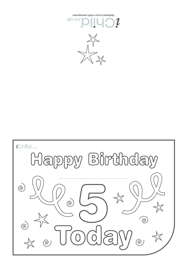 Birthday Card design template for 5 year old 5th birthday