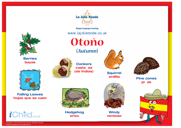 Thumbnail image for the Autumn Words in Spanish activity.