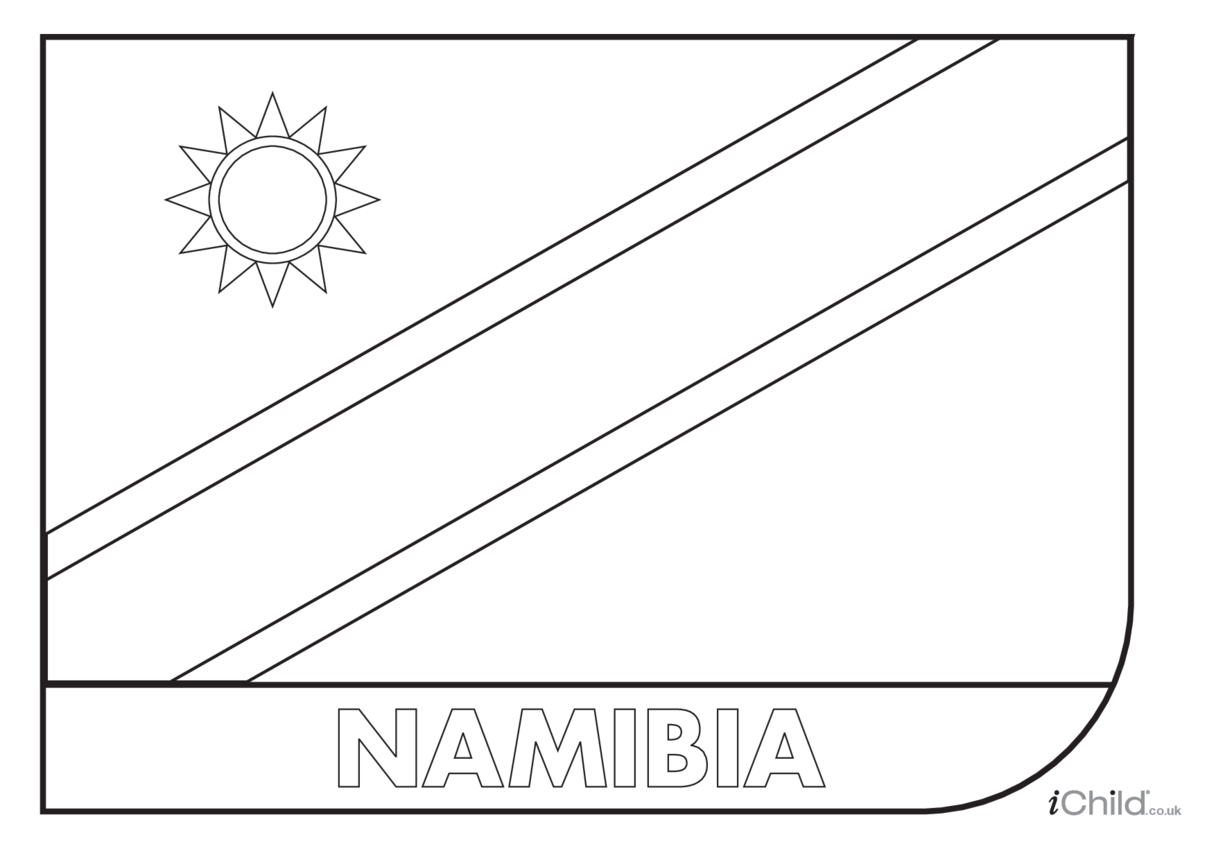 Namibia Flag Colouring in Picture (flag of Namibia)