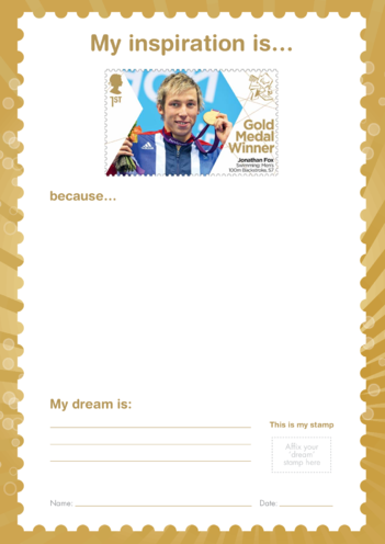 Thumbnail image for the My Inspiration Is- Jonathan Fox- Gold Medal Winner Stamp Template activity.