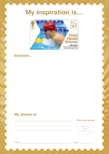 Thumbnail image for the My Inspiration Is- Ollie Hynd- Gold Medal Winner Stamp Template activity.