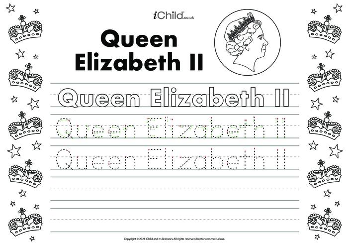 Thumbnail image for the Queen Elizabeth II Handwriting Practice Sheet activity.