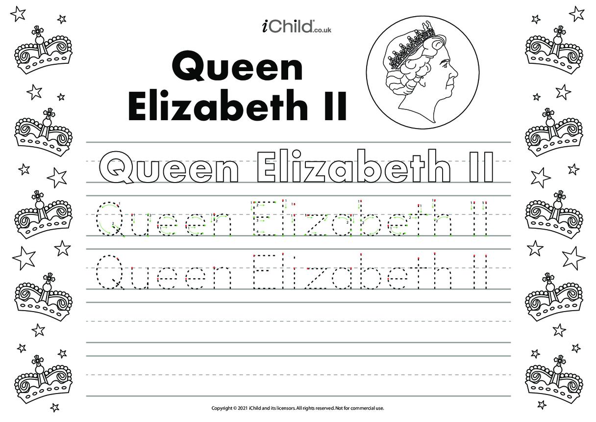Queen Elizabeth II Handwriting Practice Sheet