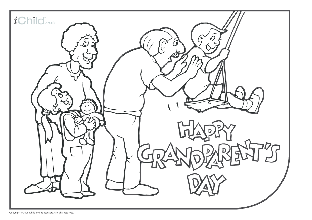 Grandparents Day Colouring in picture